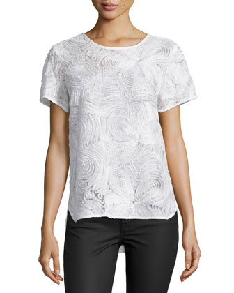 Short-Sleeve Three-Dimensional Lace Top, Off White