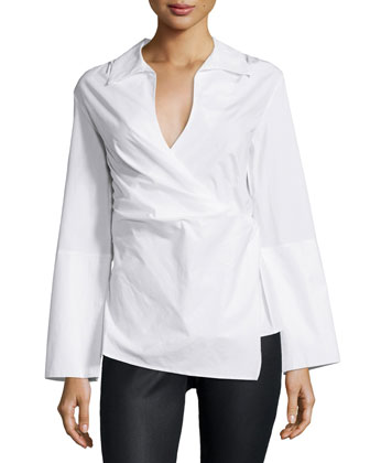 Long-Sleeve Wrap Blouse, White