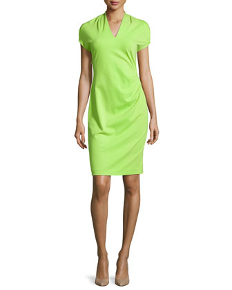 Shira Short-Sleeve Shift Dress, Plume Green
