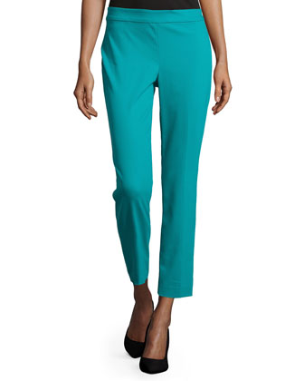 Straight-Leg Cropped Pants, Peacock Blue