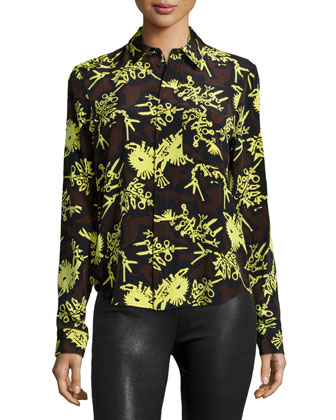 Runway Printed Formal Shirt, Chocolate