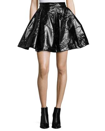 Runway Structured Mini Skirt, Plum Blue
