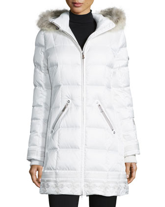 Selina Quilted Coat with Removable Fur-Trim Hood