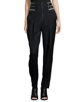 Runway High-Waist Trousers, Black