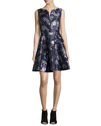 Runway Printed Fit-&-Flare Dress, Plum Blue