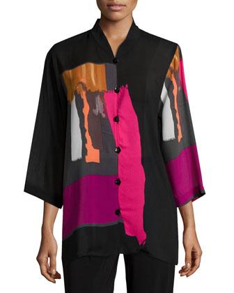 Art Effect 3/4-Sleeve Georgette Blouse, Women's