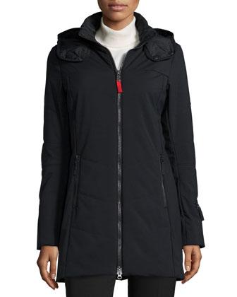 Irena Three-Layer Stretch Hooded Coat