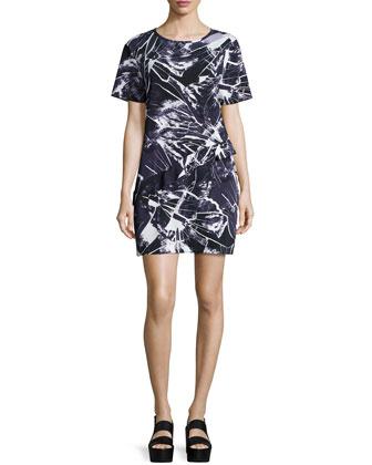 Runway Short-Sleeve Shift Dress, Plum Blue