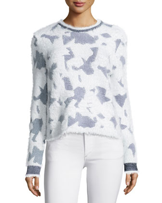 Long-Sleeve Jewel-Neck Sweater, White