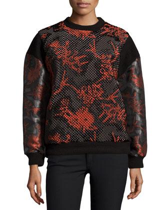 Runway Textured Sweatshirt, Dark Khaki