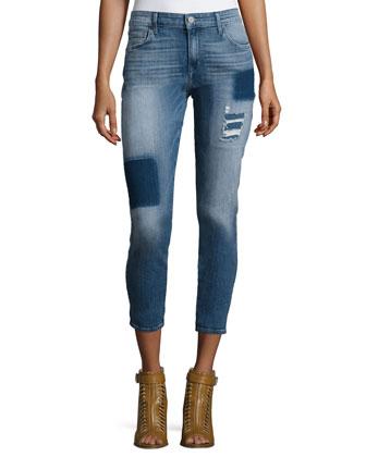 Wisdom Patchwork Skinny Ankle Jeans
