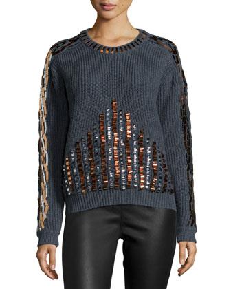 Embellished Long-Sleeve Sweater, Anthracite