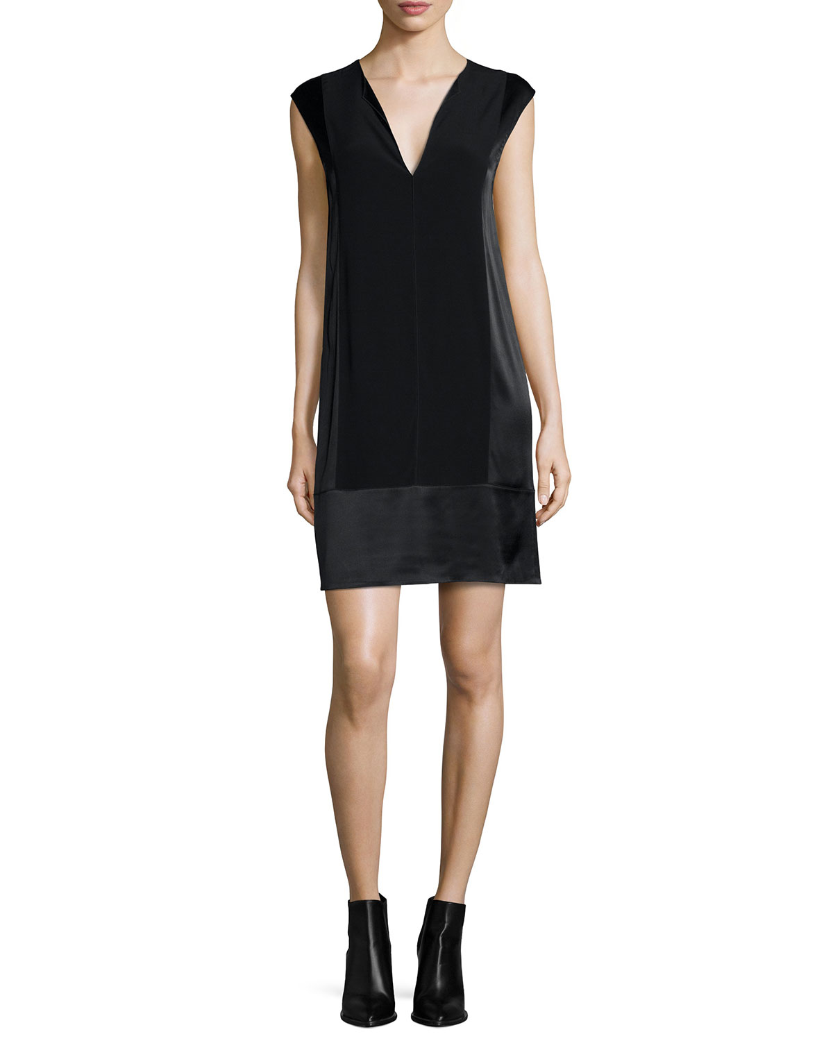 V-Neck Shift Dress, Black, Women's, Size: X-SMALL - Vince
