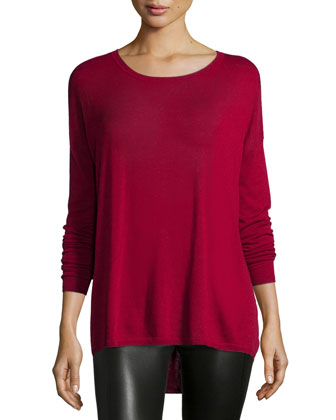 Long-Sleeve Crewneck Shirt, Crimson