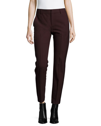 High-Waist Contrast-Piping Trousers