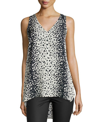 Leopard-Print V-Neck Top