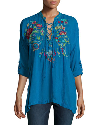 Yang Lace-Up Embroidered Blouse