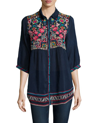 Carpe Embroidered Button-Front Tunic