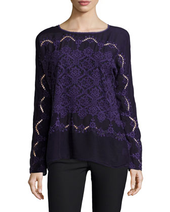 Embroidered Long-Sleeve Top, Women's