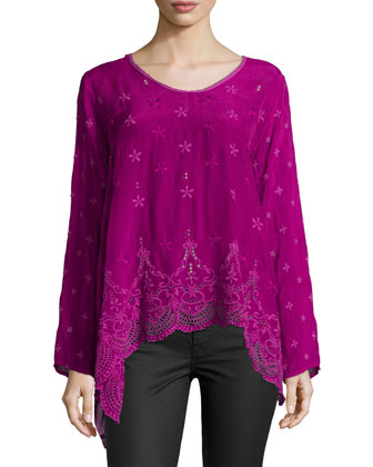 Long-Sleeve Flowy Eyelet Tunic