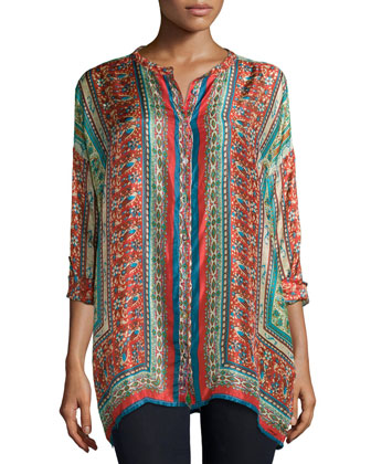 Sari Button-Front Printed Silk Tunic