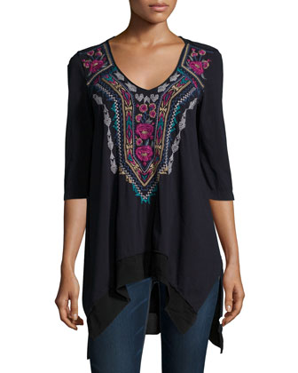 Colette Triangle Embroidered Tunic & Sari Printed Silk Scarf