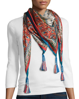 JWLA for Johnny Was Colette Triangle Embroidered Tunic & Sari Printed Silk ...
