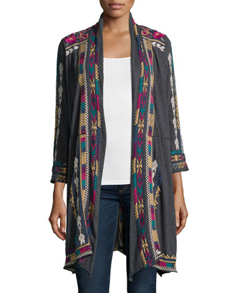 Colette Long Embroidered Coat & Fantasy Printed Silk Scarf