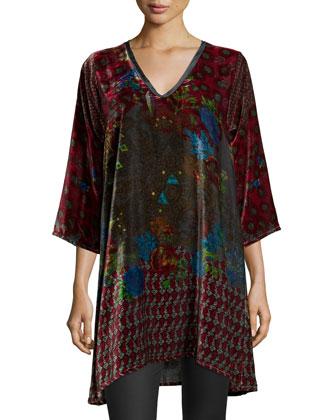 Fiscar Half-Sleeve Printed Velvet Tunic