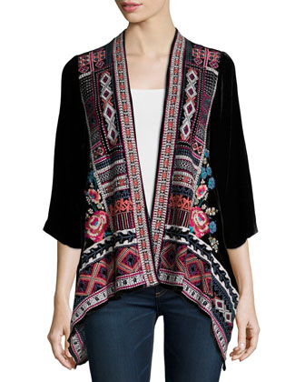 Izzy Embroidered Velvet Cardigan