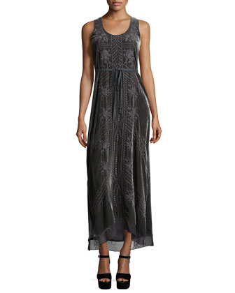 Kaiya Sleeveless Embroidered Velvet Maxi Dress