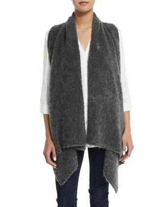 Orrin Boucle Wool-Blend Vest & Ilari Button-Down Top
