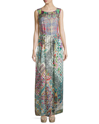 Kaiya Velvet Draped Cardigan & Sleeveless Mode Mix Maxi Dress