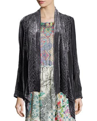 Kaiya Velvet Draped Cardigan & Sleeveless Mode Mix Maxi Dress
