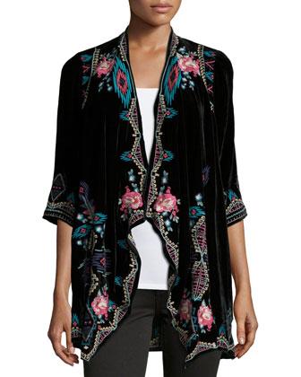 Aveza Draped Velvet Coat, Women's