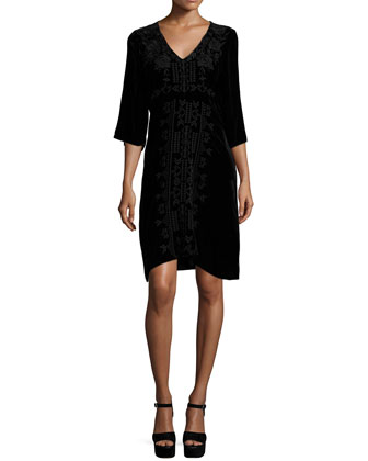 Lelko Embroidered Velvet Tunic Dress