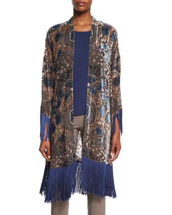 3/4-Sleeve Burnout Kimono W/Fringe, Navy