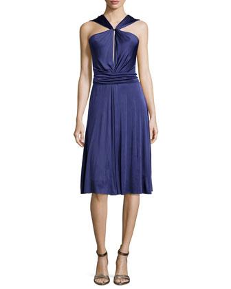 Gathered-Waist Dress W/Tie, Elderberry