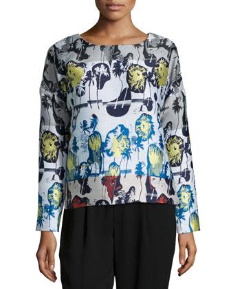Long-Sleeve Palm-Welt Pullover, Pelagic Blue Multi