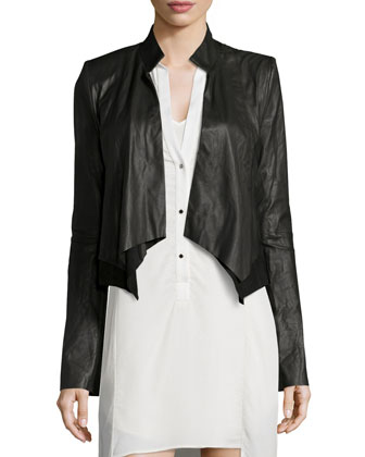 Long-Sleeve Leather Cropped Jacket & Sequined High-Low Slip Dress