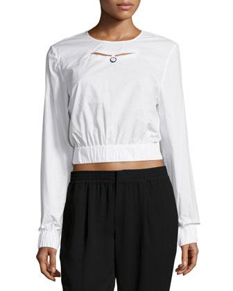 Eva Long-Sleeve Crop Top, White