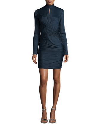 Long-Sleeve Crisscross Cocktail Dress, Petrol