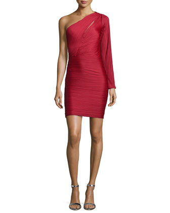 One-Shoulder Ruched Cocktail Dress, Paprika