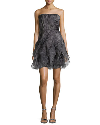 Strapless Fit-&-Flare Cocktail Dress, Charcoal