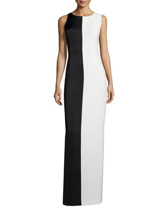 Sleeveless Two-Tone Evening Gown, Chalk/Black