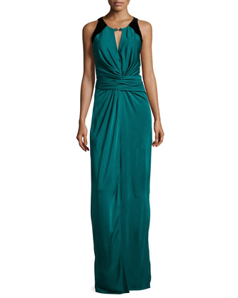 Sleeveless Ruched-Front Evening Gown, Dark Pine/Black