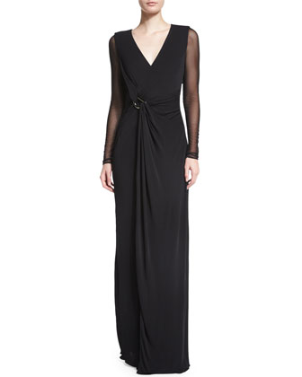 Sheer-Sleeve V-Neck Evening Gown, Black