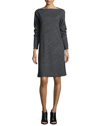Long-Sleeve Bias Twist A-line Dress & Merino Cashmere Plaid Scarf, Petite