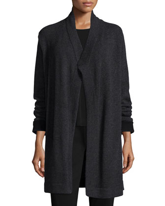 Cashmere Draped Cardigan, Long-Sleeve Silk Crewneck Tee & Boot-Cut Ponte Pants