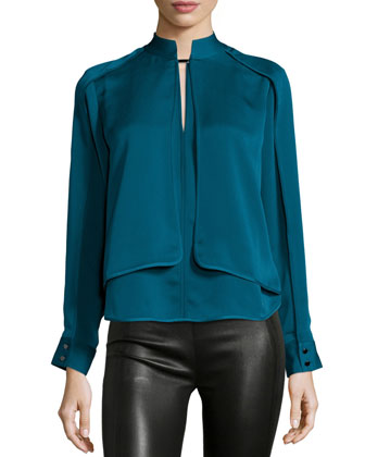 Long-Sleeve Layered Top, Atlantic